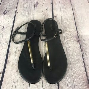 Mossimo Black Flat Thong Sandal Ankle Strap